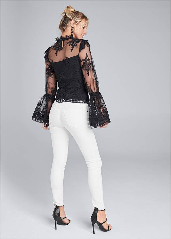 Back View Lace Mock Neck Top