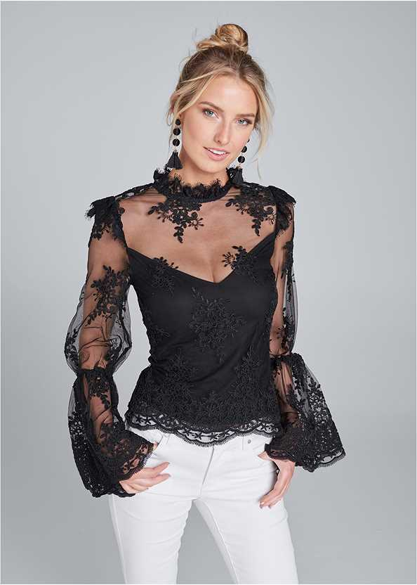 Lace Mock Neck Top,Bum Lifter Jeans,High Heel Strappy Sandals