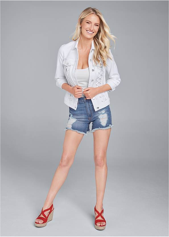Alternate View Lace Up Jean Jacket