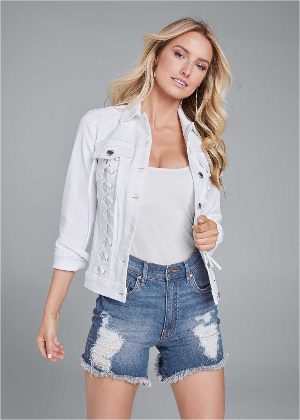 Lace Up Jean Jacket,Basic Cami Two Pack,Distressed Jean Shorts,Essential Espadrille Wedges