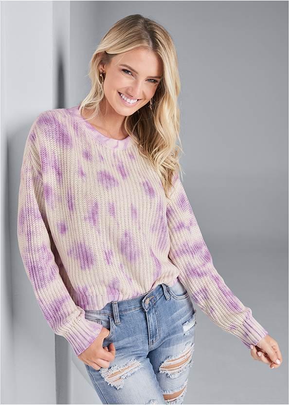 Oversized Tie Dye Sweater,Ripped Capri Jeans