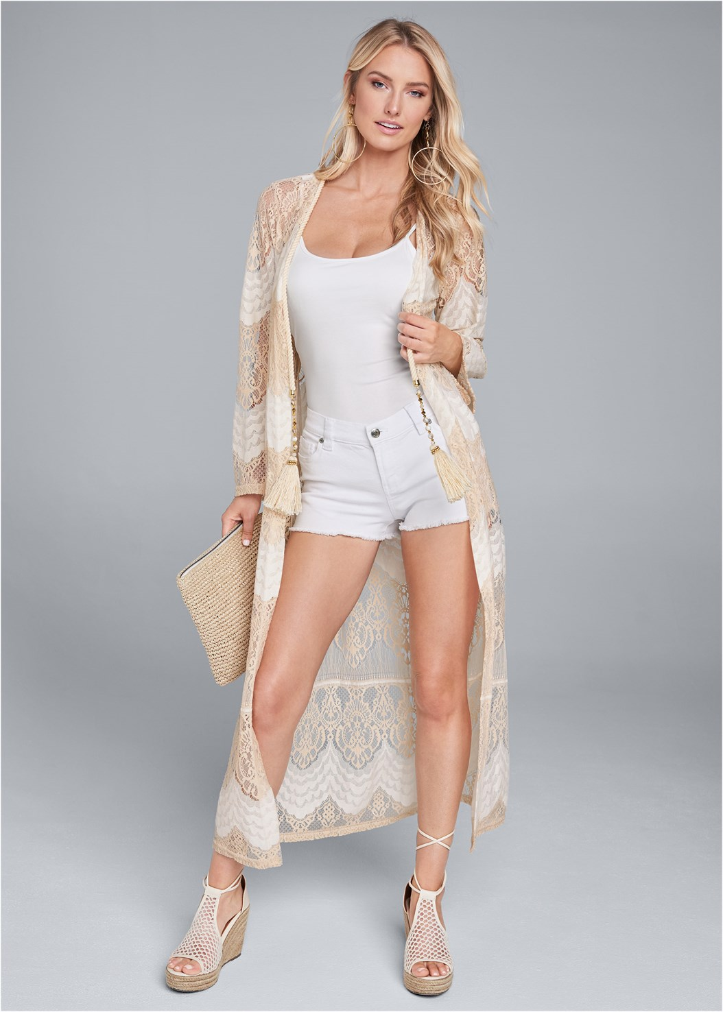 Long Lace Topper,Basic Cami Two Pack,Frayed Cut Off Jean Shorts,Embellished Wedges,Leaf Earring Set,Long Chain Pendant Necklace,Embellished Tassel Clutch,Pleated Tote Bag