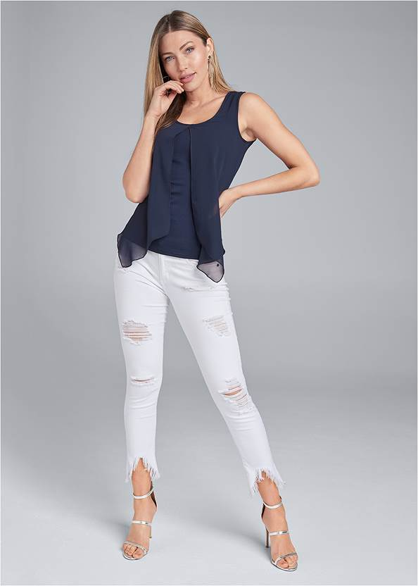 Front View Chiffon Overlay Top