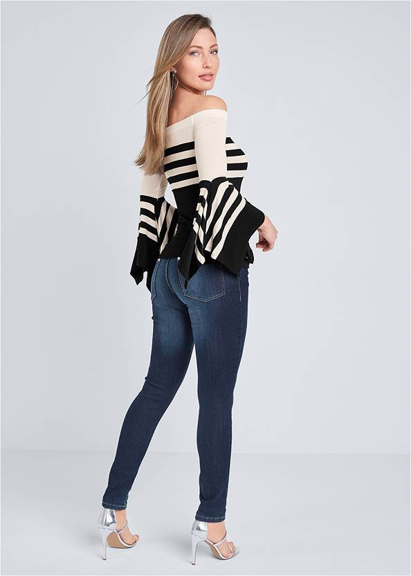 Full back view Off-The-Shoulder Striped Top