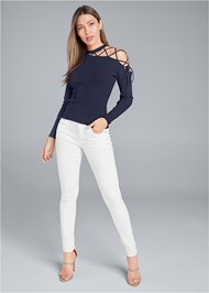 Alternate View One Shoulder Lace Up Detail Sweater