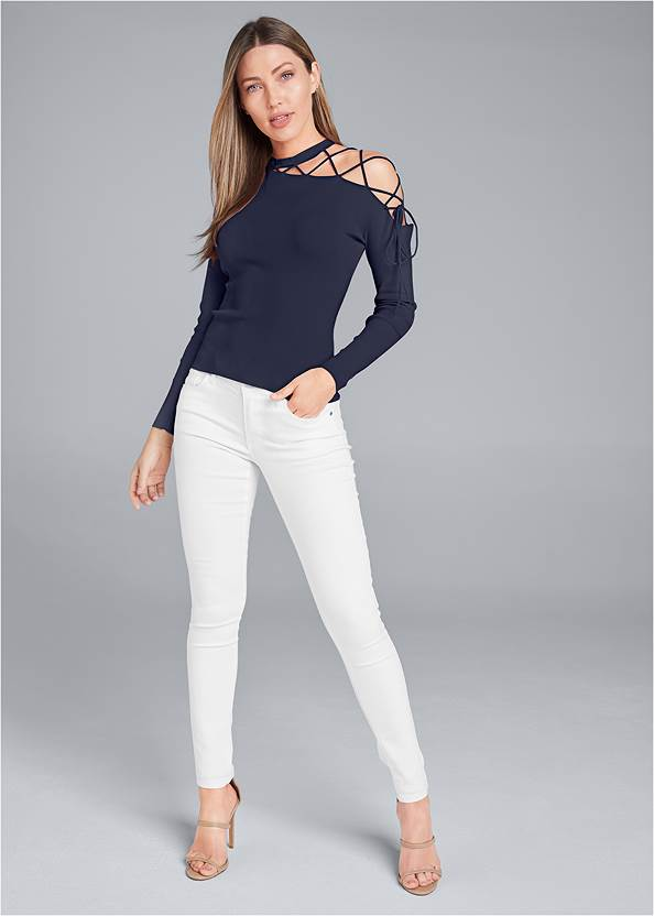 Alternate View One-Shoulder Lace-Up Detail Sweater