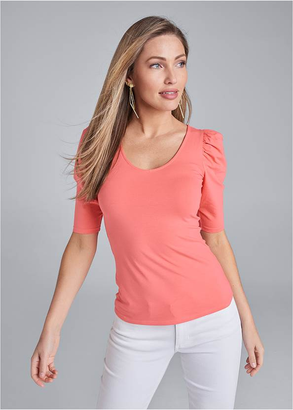 Puff Sleeve Basic Top,Color Capri Jeans,High Heel Strappy Sandals