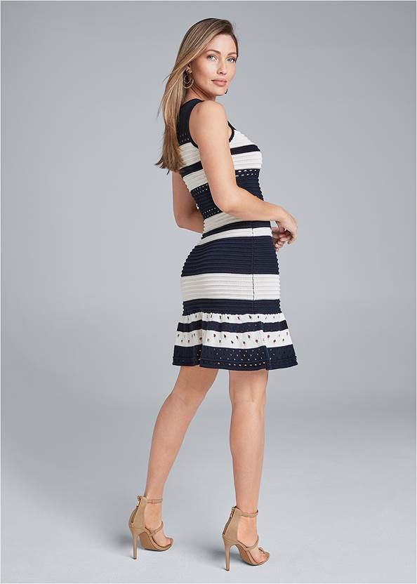 Back View Two Tone Sweater Dress