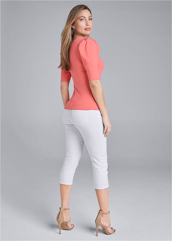 Back View Puff Sleeve Basic Top
