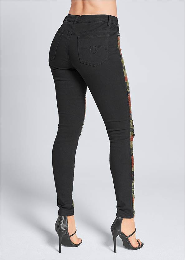 Back View Camo Sequin Jeans