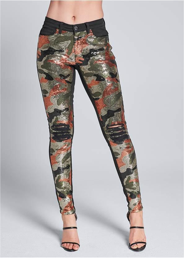 Front View Camo Sequin Jeans