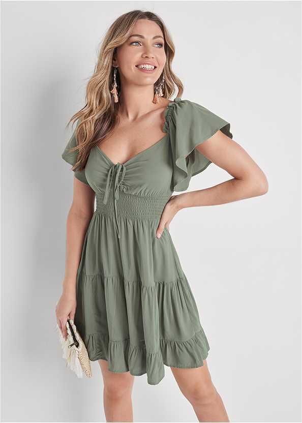 Flutter Sleeve Tiered Dress,Tassel Detail Hoop Earrings