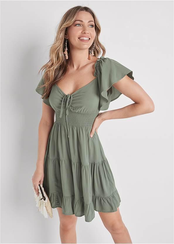 Flutter Sleeve Tiered Dress