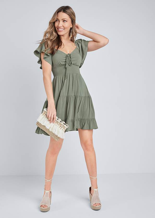 Full front view Flutter Sleeve Tiered Dress