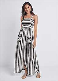 Front View Smock Stripe Maxi Dress