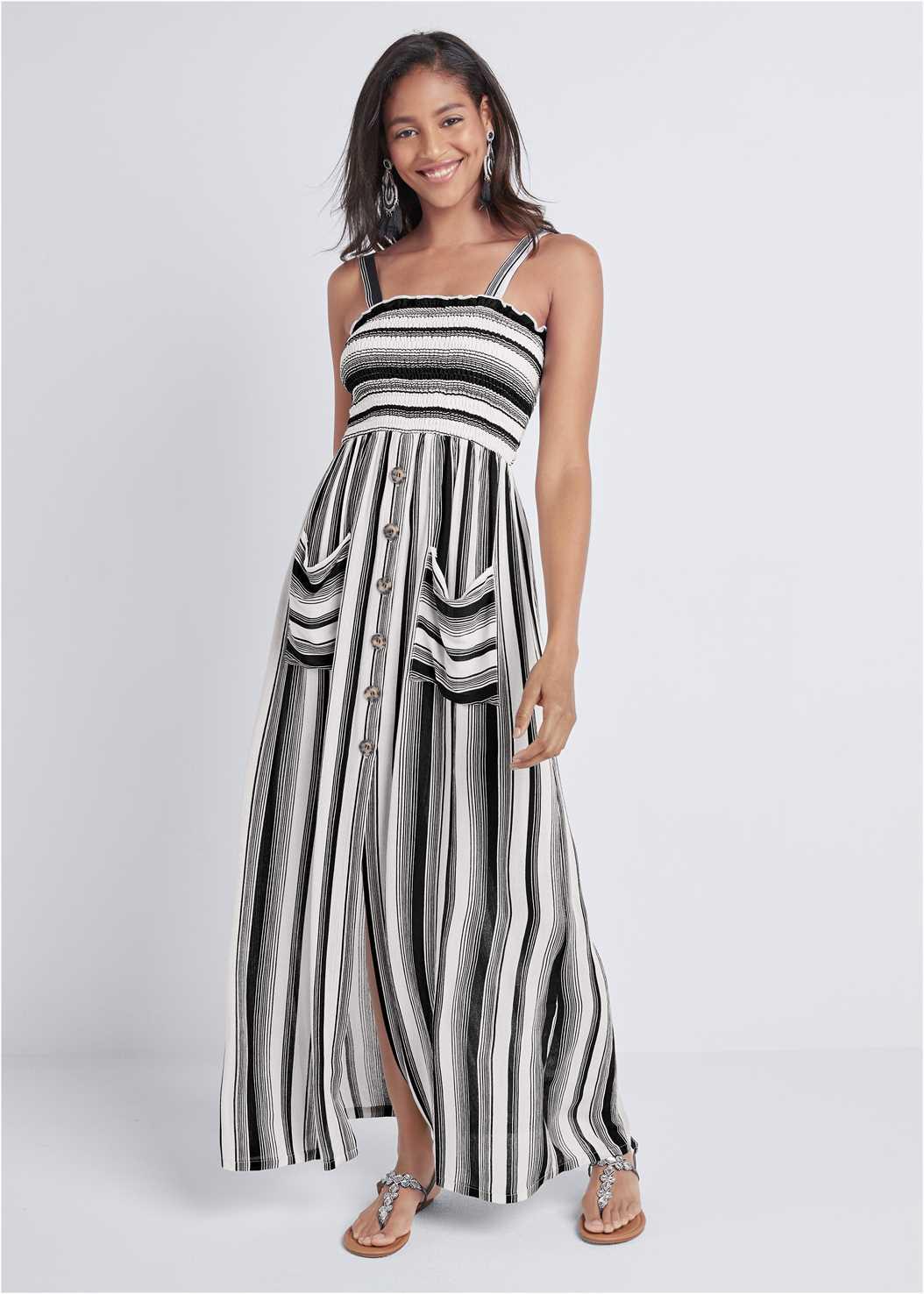 Smock Stripe Maxi Dress
