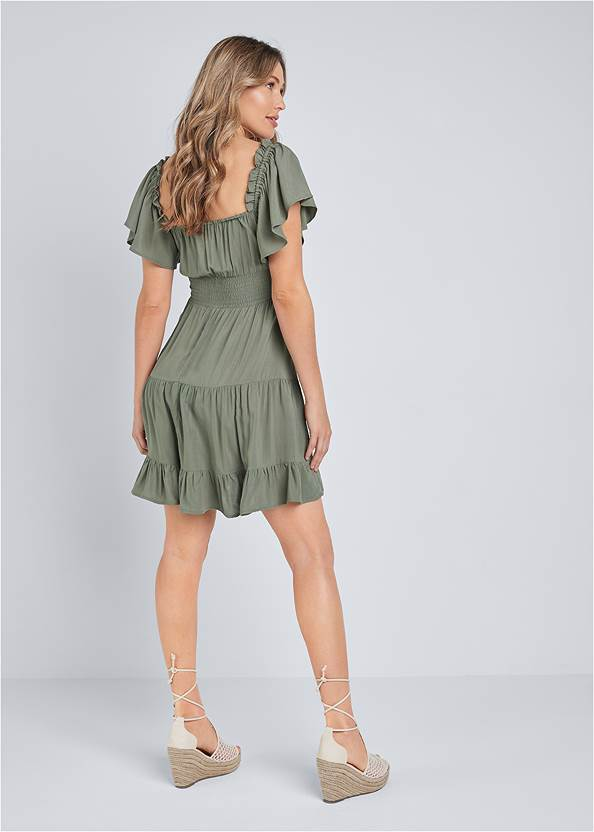 Full back view Flutter Sleeve Tiered Dress