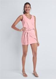 Front View V-Neck Side Wrap Mini Dress