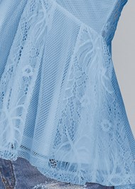 Detail front view Lace Inset Mesh Top