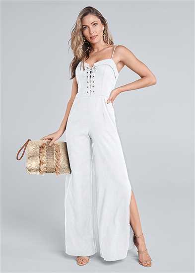 Lace Up Linen Jumpsuit