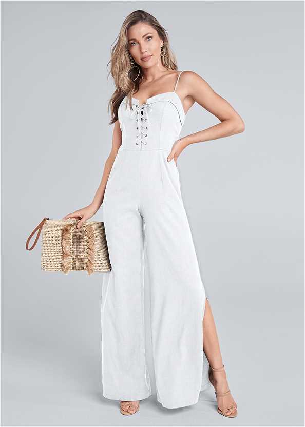 Lace Up Linen Jumpsuit,High Heel Strappy Sandals,Embellished Tassel Clutch