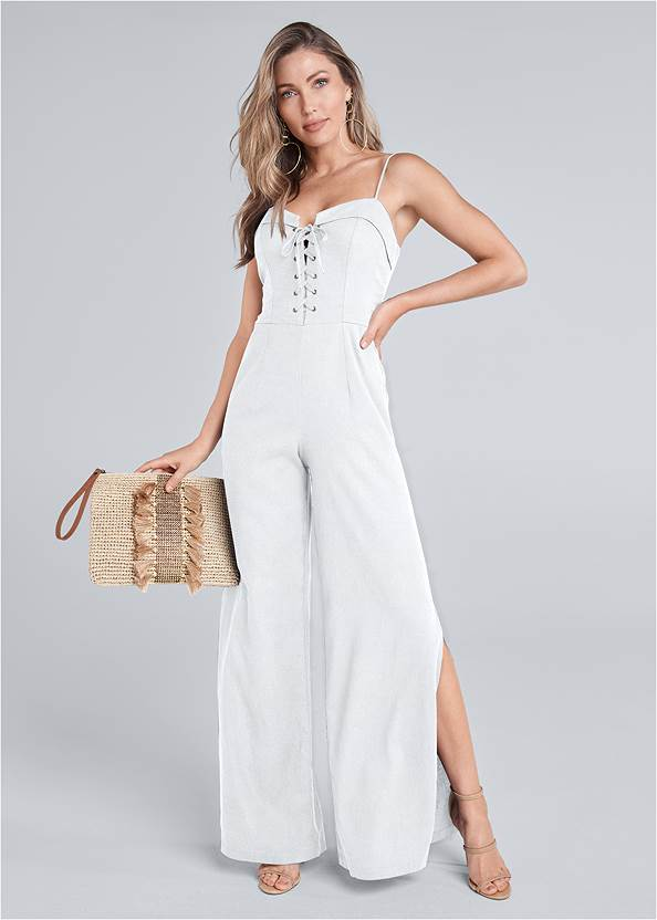 Lace Up Linen Jumpsuit,High Heel Strappy Sandals