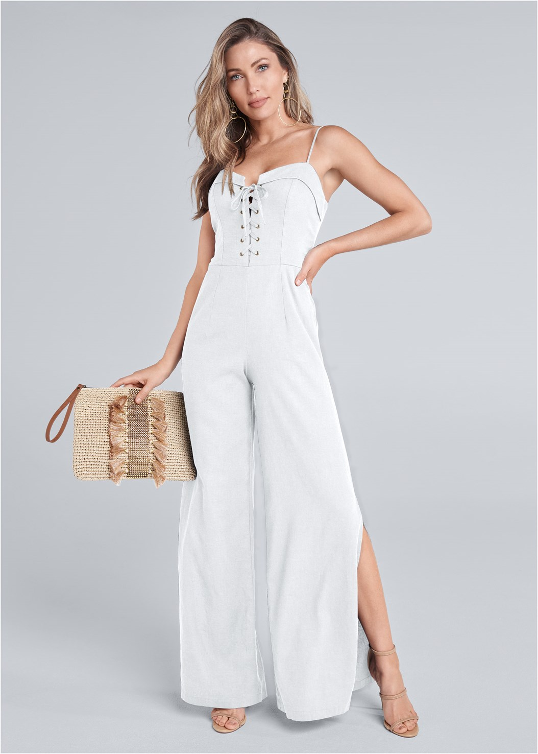 Lace Up Linen Jumpsuit,High Heel Strappy Sandals,Hoop Earrings,Embellished Tassel Clutch