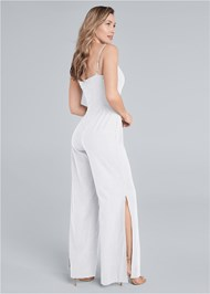 Full back view Lace Up Linen Jumpsuit