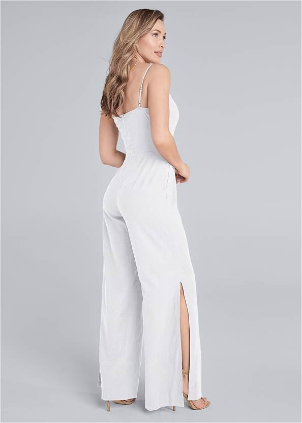 Full back view Lace Up Linen Jumpsuit