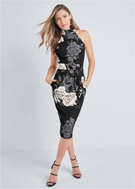 Alternate View Mock Neck Floral Bodycon Dress