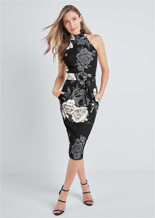 Mock Neck Floral Bodycon Dress,Kissable Convertible Bra,High Heel Strappy Sandals,Bauble Fringe Earrings,Pleated Tote Bag