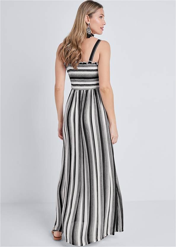 Full back view Smock Stripe Maxi Dress