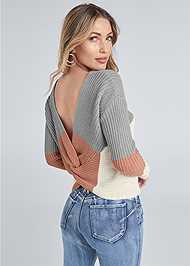 Back View Twist Back Color Block Sweater