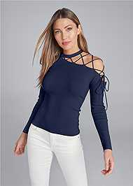 Front View One Shoulder Lace Up Detail Sweater