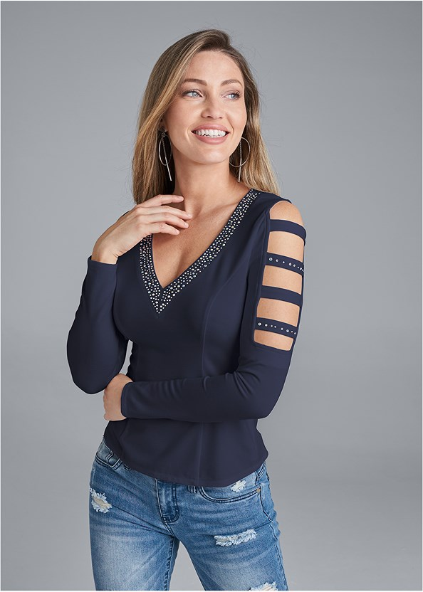 Embellished V-Neck Top,Triangle Hem Jeans,Naked T-Shirt Bra,High Heel Strappy Sandals,Hoop Detail Earrings