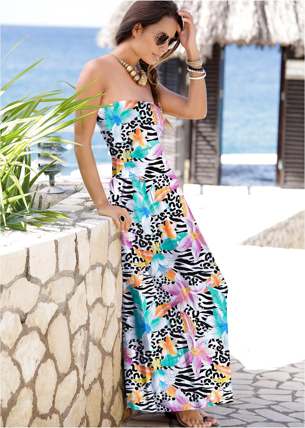 Strapless Maxi Dress,Cropped Puff Sleeve Denim Jacket
