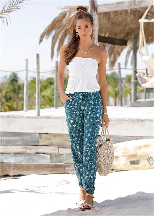 Printed Jogger Pants,Basic Cami Two Pack,Double Strap Cork Wedge