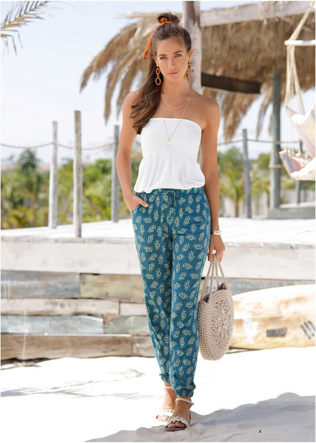 Printed Jogger Pants,Basic Cami Two Pack,Strapless Bra With Geo Lace,Double Strap Cork Wedge