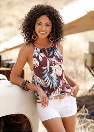 Cropped  view Floral Print Keyhole Top