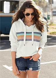 Front View Striped Detail Sweatshirt