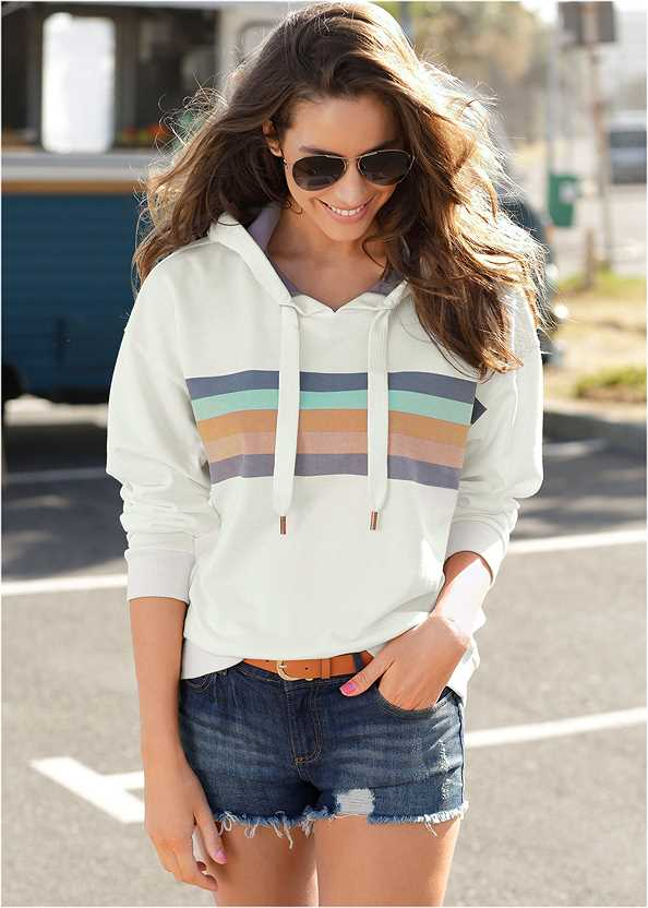 Striped Detail Sweatshirt,Essential Espadrille Wedges