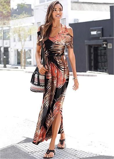 cold shoulder maxi dress