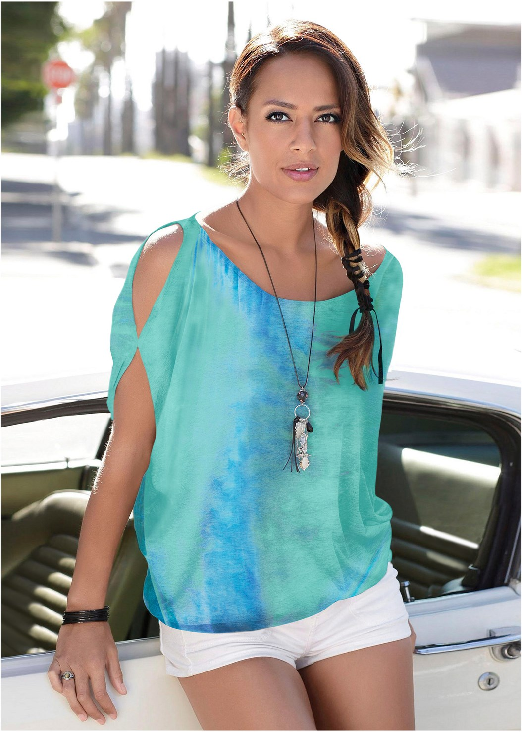 Tie Dye Cold Shoulder Top,Triangle Hem Jeans,Lucite Ankle Wrap Wedge,Beaded Fringe Earrings