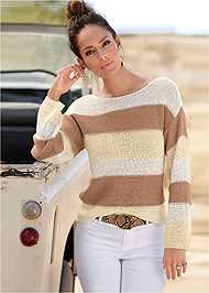 Front View Striped Sweater
