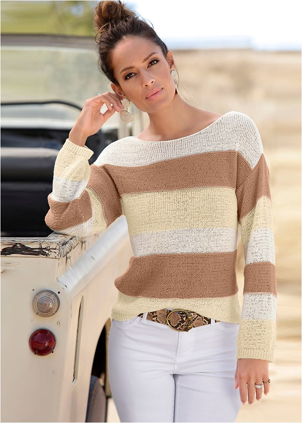 Striped Sweater,Casual Bootcut Jeans,Belted Utility Shorts,Leaf Earring Set