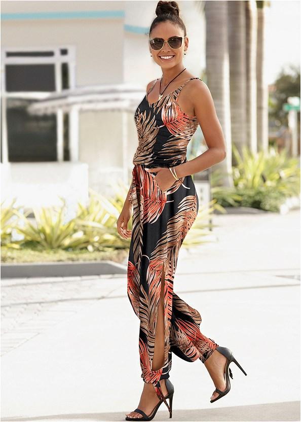 Palm Printed Jumpsuit,Strapless Bra,Double Strap Cork Wedge,Tassel Hoop Earring