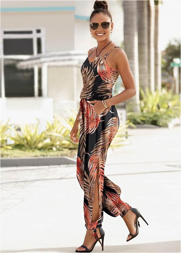 Slit Detail Jumpsuit,Sexy Slingback Heels,Double Strap Cork Wedge,Tassel Hoop Earrings,Animal Chain Crossbody Bag