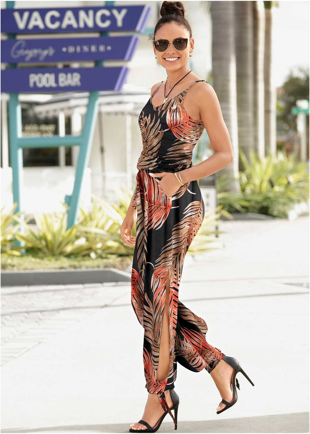 Palm Printed Jumpsuit,Strapless Bra,Double Strap Cork Wedge