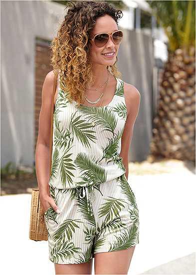 Palm Printed Romper
