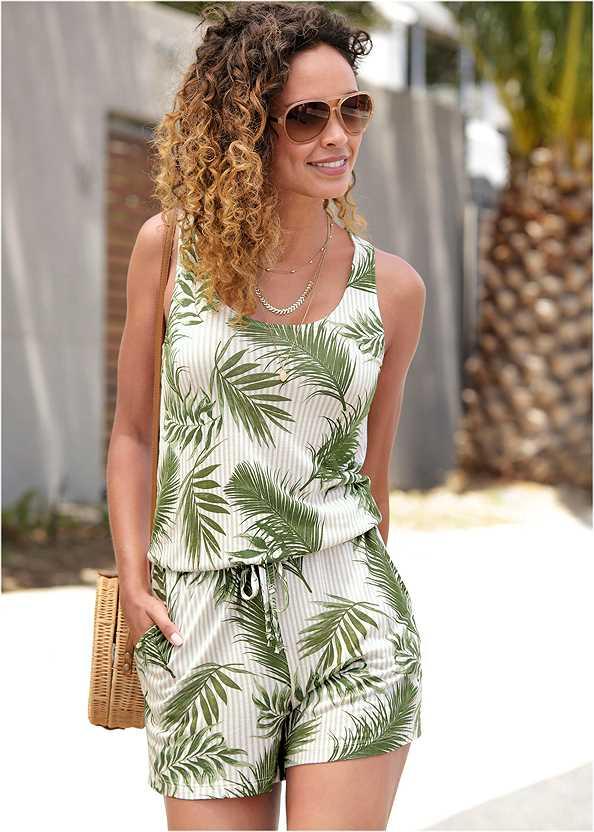 Palm Printed Romper,Beaded Heels,Tassel Hoop Earrings,Straw Belt Bag